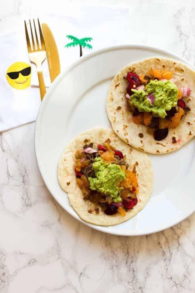 Summer Tacos with Orange Cherry Salsa
